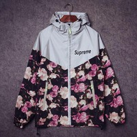 Supreme Unisex Lighting Windbreaker Spureme Thin and thick Flower reflective clothes Front