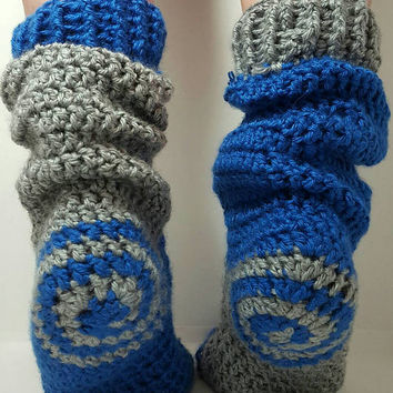 Crochet Spiral socks. ladies size 7 to about 7.5. Medium. Blue and gray Made by Bead Gs on etsy.