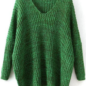 Green V Neck Knit Long Sleeve Sweater