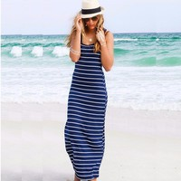Women Summer dress Casual Maxi vestido de renda Long Dress Beach Stripped sleeveless dresses women beach dress