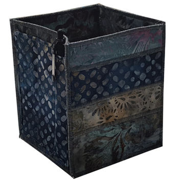 Home Storage Organizer Pencil Box in Navy Blue Batik