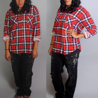 50 PERCENT OFF Vintage 1990s red white blue GRUNGE plaid oversize long sleeve button down Soft paper thin flannel shirt blouse
