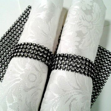 Black Napkin Rings Black and Silver Rhinestone  Diamond Crystal Elegant Wedding  or Party Napkin Rings 100 Pc Lot
