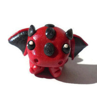 Baby dragon sculpture, dragon figurine, clay miniature, fantasy art, home decor, kawaii manga, japanese anime