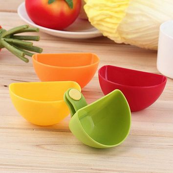 4PCS/lot Dip Saucers Salad Sauce Ketchup Jam Dip Clip Cup Bowl Dishes for Tomato Salt Vinegar Sugar Flavor Splice