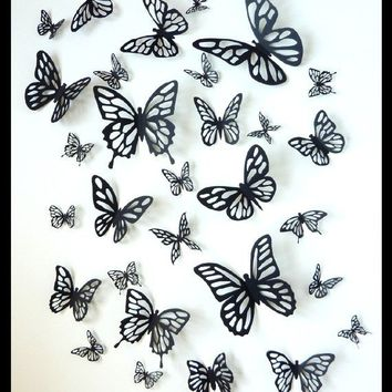 3D Wall Black Butterflies Set of 40 Different Butterflies by BugsLoft