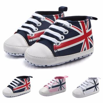 Newborn Infant Baby Union Jack Flag Print Canvas Anti-slip Soft Shoes Sneaker