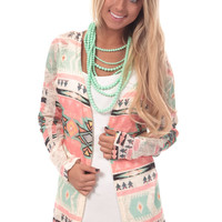 Multi Color Aztec Open Cardigan
