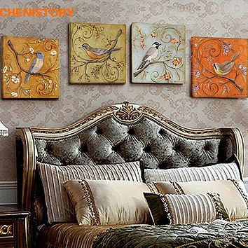 Unframed 4 Panel Vintage Birds Retoing Europe Home Decor Wall Art Picture Print Painting On Canvas For Living Room Unique Gift
