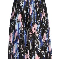 MSGM Pleated Printed Skirt - Knee Length Skirt - ShopBAZAAR
