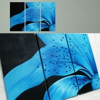 Big Blue Flower Black Dots Painting On Canvas Fine Art Size 47 x 32 Inch 005