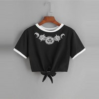 Summer Round Neck Short Sleeve Cartoon  Clothes Crop T Shirt