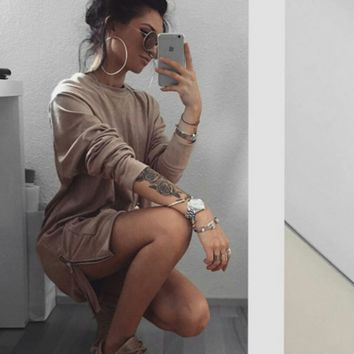 Cute brown the zipper pocket color sweater