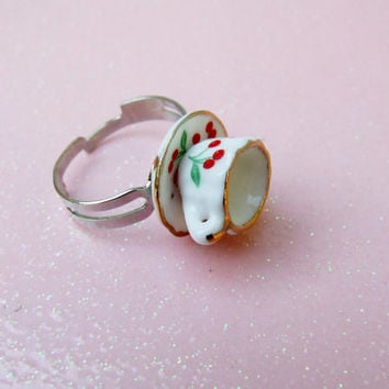 Miniature Teacup Adjustable Ring - Cherry Tea Cup Ring - Tea Party Adjustable Ring - Dollhouse Miniature - Alice in Wonderland Inspired
