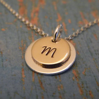 Solid Sterling Silver and 14kt Gold Fill Initial Letter Custom Made Hand Stamped Personalized Monogram Dainty 2 Layer Necklace (1/2 inch)