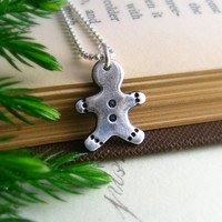 Holiday Jewelry Silver Gingerbread Man Necklace Christmas Necklace  Under 50