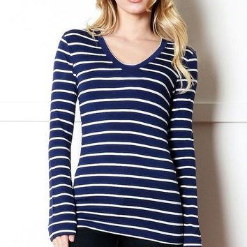 Navy Striped Long Sleeve Top