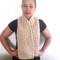 Warm crochet scarf in beige - Long custom winter scarf, Plain scarf