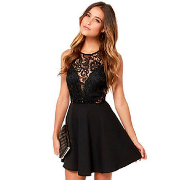 Women's Sexy Lace Cute Plus Sizes Inelastic Sleeveless Above Knee Dress