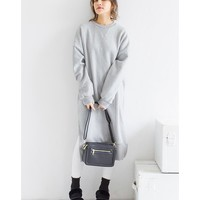 All 3 color [New fall] sweat back hair side slit long length tunic dress women's