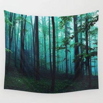 magic forest Wall Tapestry by Lostfog Co↟