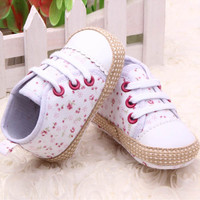 Lovely 0-12M Baby Kid Girl Crib Shoes Toddler Soft Sole Sneakers Prewalker  Free Shipping