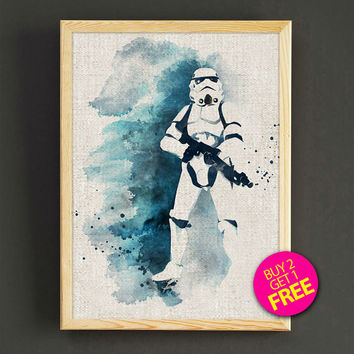 Stormtrooper Watercolor Art Print Star Wars Stormtrooper Poster House Wear Wall Art Decor Gift Linen Print - Buy 2 Get FREE - 148s2g