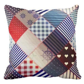 """Patchwork Denim/Nautical"" THROW PILLOW"