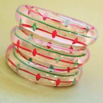South of the Border Lucite Bangles Bows and Crossbones
