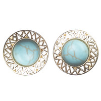 Cutout Metal Turquoise Stone Earrings | Wet Seal
