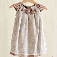 Taupe Roses Lace Cap Sleeve Dress