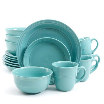 Mainstays Aqua Rainforest 16-Piece Round Dinnerware Set