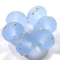 Etched Pale Blue Lampwork Beads Frosty Sea Glass Silver 050efs - $3.25 : Covergirlbeads, Lampwork Beads and Charms Handmade by Glass Artist Charlotte Hayes