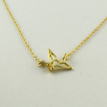 Origami Crane Delicate Necklace/Sterling Silver or 14K Gold Origami Necklace/ Origami Bird Necklace