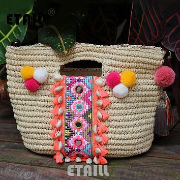 Summer Bohemia Knitted Straw Fashion Women's Handbags Beach Pompon Tassel Woven Indian Tote Luxury Famous Brand Shoulder Bags
