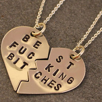 Best F&cking Bitches Necklaces - Best Friend Jewelry - BFF Jewelry - Best Bitch Charms - Nickel Silver - Mature