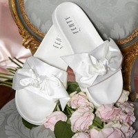 PUMA fenty rihanna silk Bow Slide Sandals Shoes sneakers spring white
