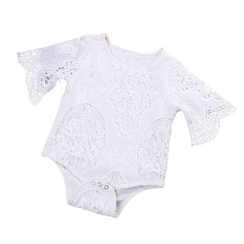 Baby Girl's White Lace Bodysuit