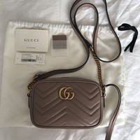 GUCCI GG Marmont matelasse mini bag in dusty pink matelasse leather
