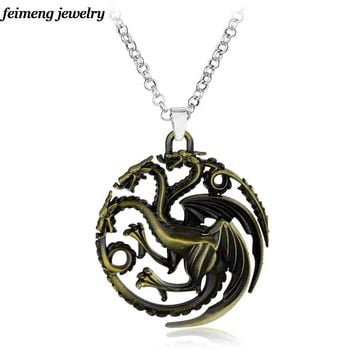 Game Of Thrones Series House Family Crest Targaryen Fire And Blood Three Dragon Pendant &Necklace Gift For Fans Movie Jewelry