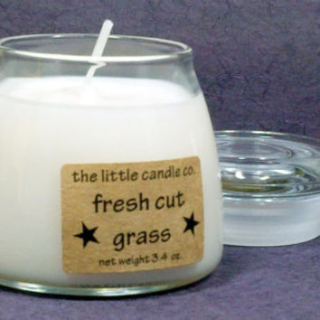 Fresh Cut Grass Soy Candle Jar - Hand Poured and Highly Scented Container Candles