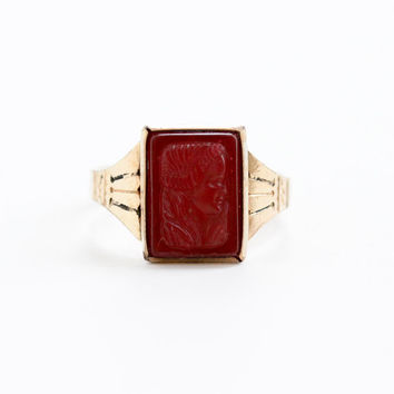 Vintage 10k Rose Gold Shell Goddess Cameo Ring - Art Deco Simulated Carnelian Red Glass Stone Victorian Revival Size 10 3/4 Jewelry