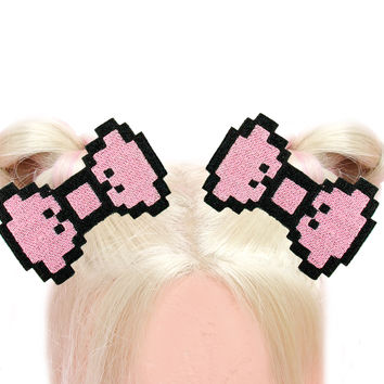 Pink Pixel Bow Hair Clip
