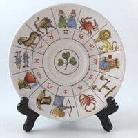 Vintage Saucer Plate Astrology Horoscope Zodiac Signs Fine Bone China Plate