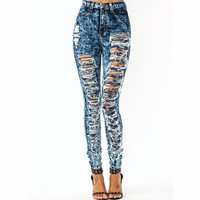 High-Waisted Destroyed Jeans - GoJane.com