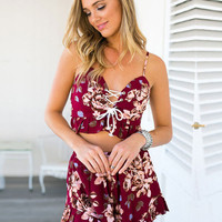 Red Bohemian WineLace Rompers