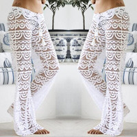 Leisure Beach Hollow Lace Crochet Pant Trouser