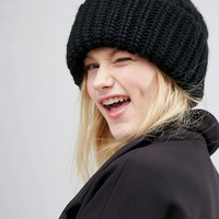 Monki Cable Knit Beanie Hat at asos.com