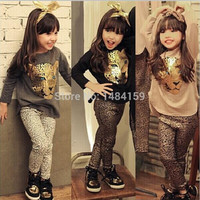 Size: 2T - 10/ Girls Clothing Set/ Full Sleeve Shirt- Leopard Leggings