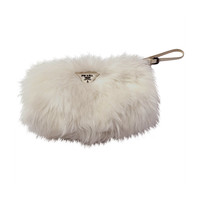 Prada White Faux Fur Clutch Bag